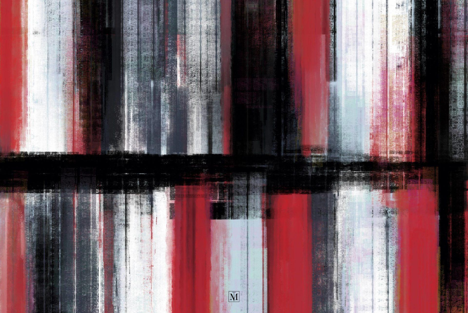 Abstrakte Malerei - Linien rot grau schwarz