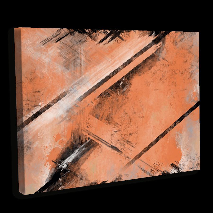 Abstrakt - Steinern liniert - Terracottafarben mit Schwarzen Akzenten
