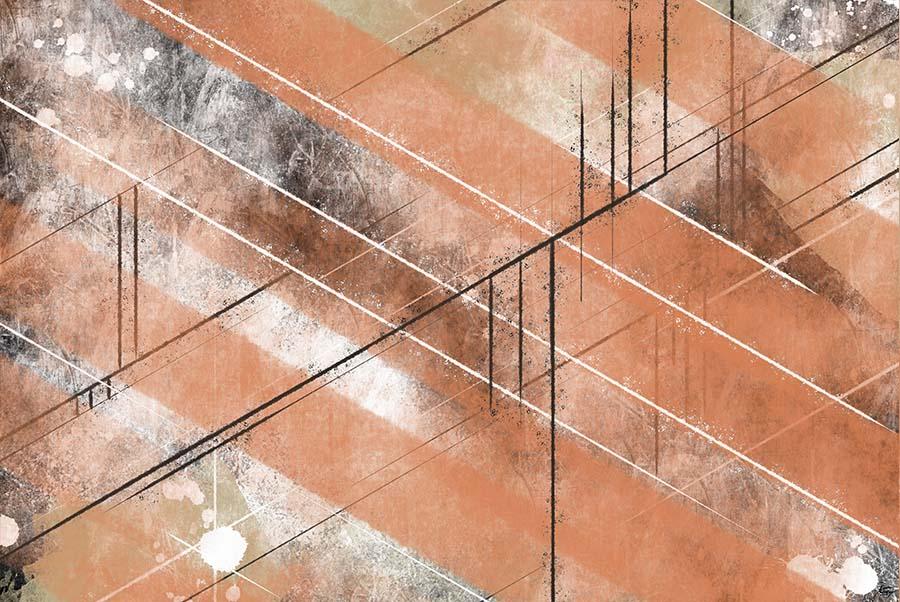 Schräge Linien - Terracotto und schwarz